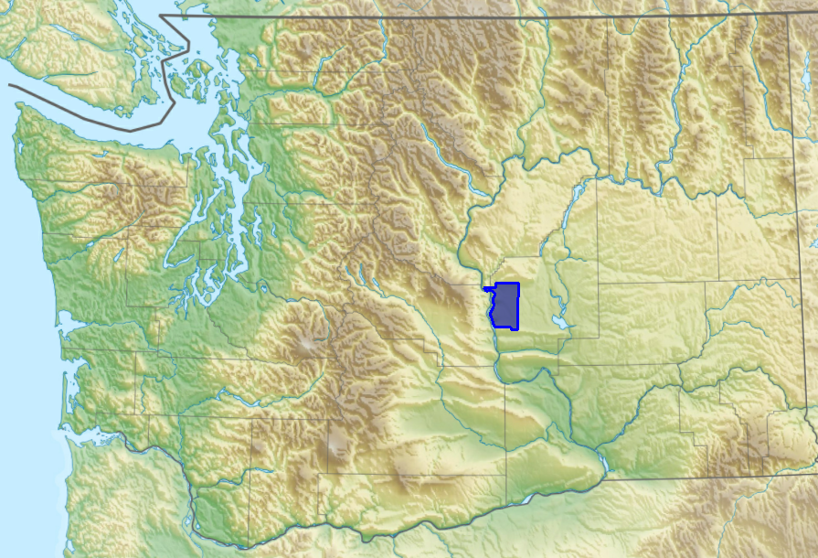 Map of Washington State that shows the Ancient Lakes AVA